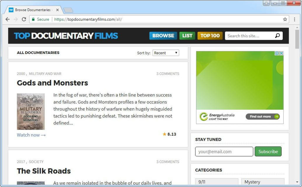 top documentary films - Free movie streaming sites