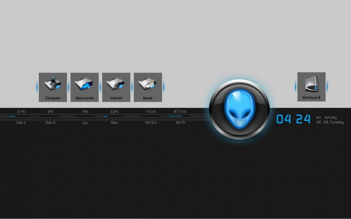 alien_desk rainmeter skin